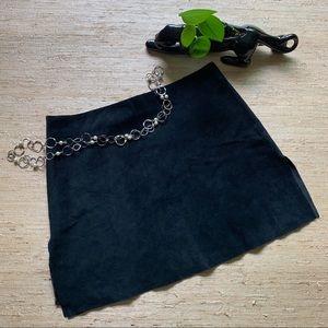 Hugo Buscati Black Suede A-Line Miniskirt